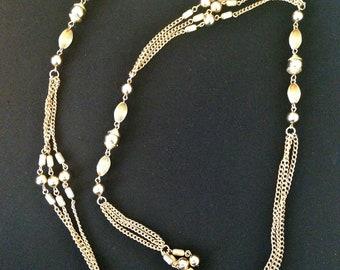 Vintage 60s Necklace/ Sarah Coventry Gold Lariat Necklace/ Tassel Necklace/ Dangle Link Chain/ Long Fringe Waist Belt