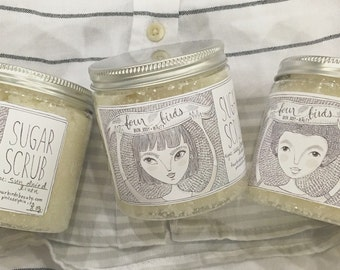 Sugar Scrub - Sun-Dried Linen { body scrub / shea butter scrub / spa gift for her / shower scrub / clean cotton / fresh linen }