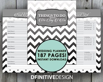 The Ultimate 187 Page Wedding Planner - Black and Gray/Grey - Instant Download