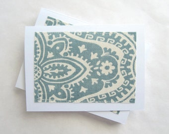 Notecard set, fabric notecards, blank, aqua dakota cadet, set of 8 (CA16-002)