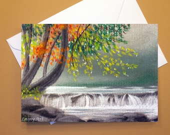 Art Greeting Card  - Created from Original ACEO drawing for Charity - Blank Notecard - 4x6 - Fall River Landscape - Day 324