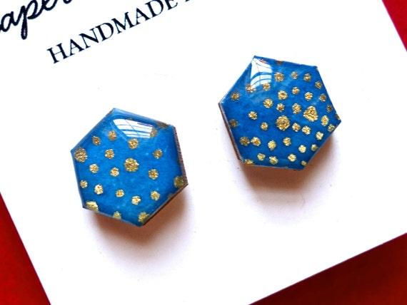 Hexagon earrings, Stud Earrings, Geometric earrings, Hexagon studs, Hexagon stud earrings, blue earrings, gold earrings, Japanese paper