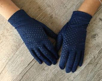 Vintage blue gloves