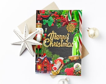 Christmas Cards, Holiday Cards, Wreath Card, Greeting Cards, merry Christmas, Card Set, Personalized Card, Inspirational Card, joy, Set of 4