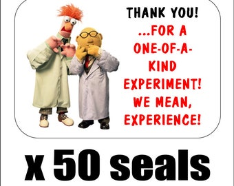 """50 Beaker and Bunsen Honeydew Thank You Envelope Seals / Labels / Stickers, 1"""" by 1.5"""""""