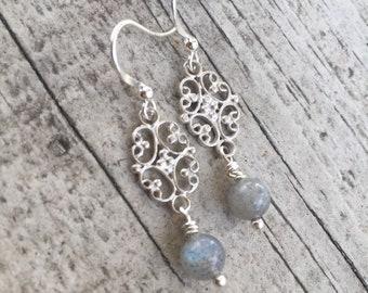 labradorite sterling silver chandelier earrings.