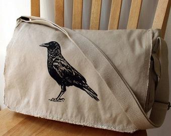 Crow Screen Printed Messenger Bag Laptop Bag