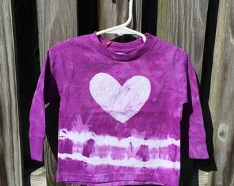 Toddler Girls Shirt, Purple Girls Shirt, Long Sleeve Girls Shirt, Purple Baby Shirt, Purple Heart Shirt, Girls Tie Dye Shirt (18 months)
