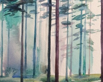 Forest painting, Forest watercolor, Misty forest, Scandanavian forest, Misty trees, watercolor trees, tree painting, pine trees, Trees