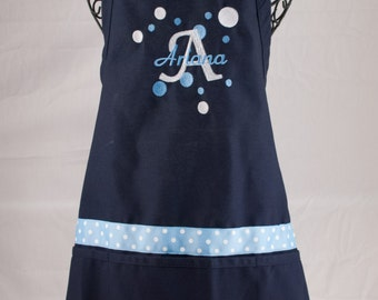 Monogrammed Apron Navy Personalized