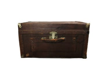Antique Wooden Leather Covered Trunk - Antique Traveling Trunk - 1800s Edwardian Trunk Trim