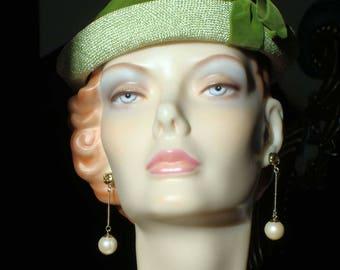 1940s Tilt Hat Bright Green Strawberry Topper Hat with Velvet Ribbon Trim