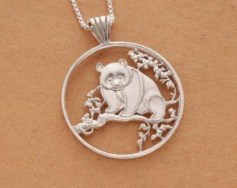 "Sterling Silver Penda Bear Pendant, Silver Panda Jewelry, Panda Bear Jewelry, Chinese Panda Jewelry, 1 1/4"" in Diameter, ( # 812S )"
