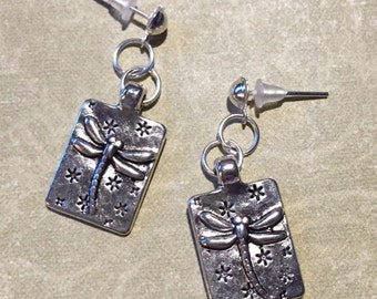 Amazing Dragonfly Earrings Fly Silver-plated Posts