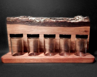 Spice Jar Rack Organic Natural Live Edge Rustic Walnut Wood by Tanja Sova