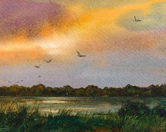 "ORIGINAL WATERCOLOR - ""Awakening"" - Painting by Linda Henry - Miniature Watercolor - 5""x7"" - Ready to Frame - Free Mat (#500)"