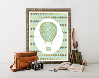 Hot Air Balloon Printable, Hot Air Balloon Decoration, Hot Air Balloon Nursery, Hot Air Balloon Decor,Hot Air Balloon Print 0071