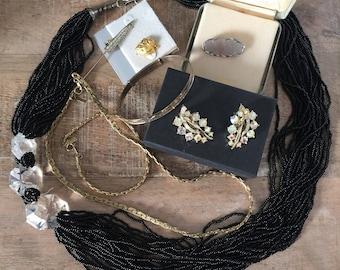 Vintage Lisner | Sterling | Black Seed Bead | Gold Plate Necklace & Bracelet Set | Jewelry Lot