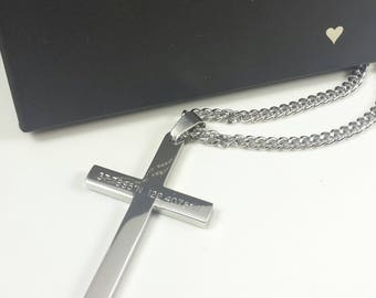 Steel cross necklace etsy free shipping bible verse necklacepersonalized cross aloadofball Images