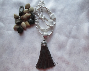Howlite Necklace with a Tassel
