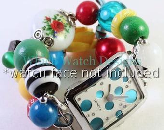 Floral Fun.. Vintage Style Floral Bead, Red, Turquoise, Green, Yellow, Black & White Interchangeable Beaded Watch Band