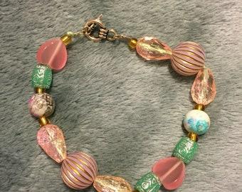 Pink/Blue Beaded Bracelet