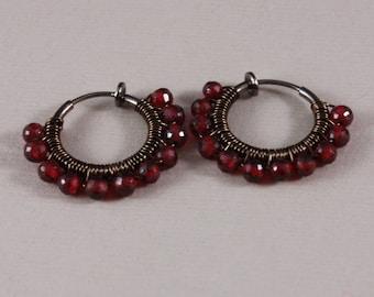 Clip on hoop earrings Garnet Gunmetal non pierced
