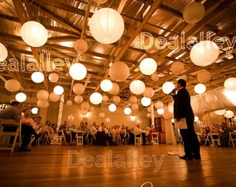 36 Paper Lanterns Led set Mixed Size White Color Round Lamp Shade Floral Wedding Party DIY Crafts Decoration Supplie w/ LED Lights+Batteries
