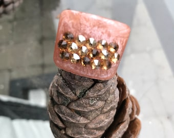 Oversize Statement Resin Rings with Swarovski crystals - Size 7 US.