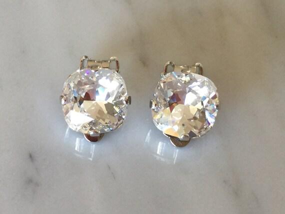 Swarovski Crystal Clip On Earrings, Silver