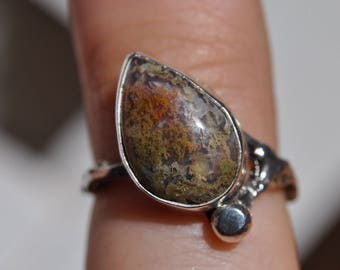 Moss Agate Offset Teardrop Ring with Twig Band (size 4.75)