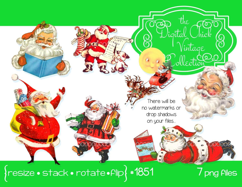 Digital Clipart Instant Downloads Vintage Santa Claus Images
