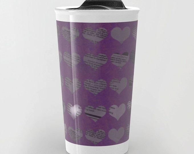 Purple Travel Mug - Newspaper Hearts  - Coffee Travel Mug - Hot or Cold Travel Mug - 12oz Travel Mug -Made to Order