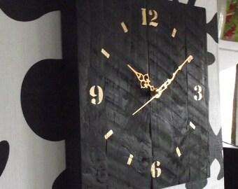 pendulum clock, wooden clock, black wooden clock, silent wall clock, black clock, living room clock, rustic clock, wood clock