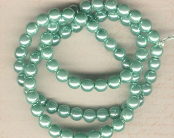 8mm Jablonex Sea Foam Green Czech Glass Pearl Beads, 75 pieces, 8mm Sage Green Glass Pearl, 8mm Pale Green Pearl, 8mm Soft Teal Pearl
