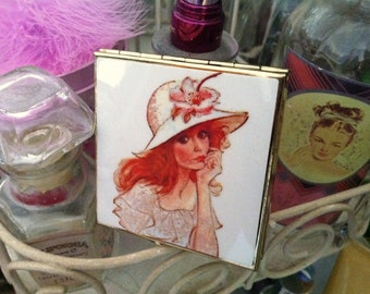 Roter Kopf kompakt Spiegel / Vintage Lady / Hand Spiegel / Josephine Currie / letzte!