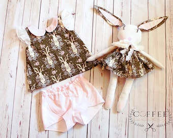 Easter outfit, spring dress, spring outfit, size 3, custom, ready to ship, summer outfit, summer top, summer shorts, lovey, bunny