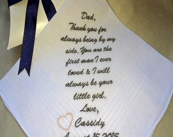 Personalized wedding Handkerchief, Custom, Embroidered Wedding Hankerchief, Personalized, Father of the Bride: By MemoriesMadeApparel