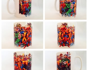 personalised mug marvels comic book hero hulk spiderman batman thing xmen gift present