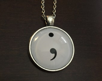 semicolon, semi colon, semicolon necklace, semicolon jewelry, semi colon necklace, semi colon jewelry, and so she goes on, silver necklace