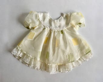 Vintage Baby Girls 70's Dress, White, Yellow, Striped, Long Sleeve (6-9 mos)