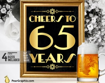 Birthday Party Decorations Cheers To 50 Years Printable Sign 65th Surprise City
