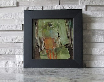 """FRAMED FREE SHIPPING Original Oil Painting Abstract Expressionism Art 4"""" x 4"""" inch Square Colette Davis Figure Figurative People"""
