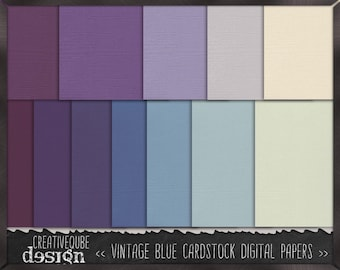 Digital paper, Digital Scrapbook paper pack - Instant download - 12 Digital Papers - Vintage blue cardstock