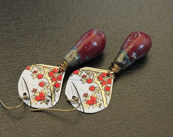 Repurposed Jewelry - Upcycled Jewelry - Ceramic Teardrops - Artisan Teardrops - Hand Cut Tin Pendants - Bohemian Jewelry - Tea Tin Pendants