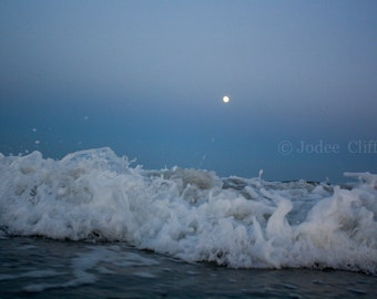 Modern Full Moon Ocean Photography, moon in Aquarius, Framed, Unframed / Lucky Star Dreams Jersey Shore Photography Wildwood Crest Seascape