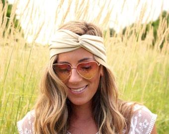 Buy 2 Get 1 Free, Beige Yoga Twist Headband, adult headwrap, Twist Headband, Twist Headwrap, knot headba