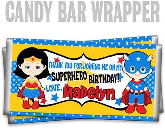 CBW2-778: Super Hero 23 Candy Bar Wrapper To Match Your Theme