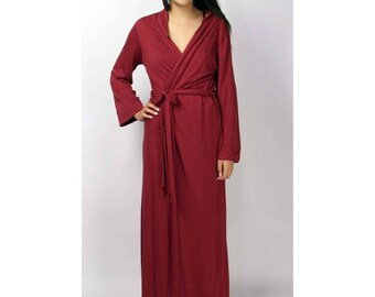 merino wool robe for women in full length - ready to ship in Size XS - color peachskin