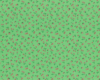 Old New 30's spring 2015 strawberries and cherries on green by Lecien